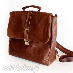 plecak / torba skóra kasztanowa pull up, plecak, skóra, brąz, kasztan, unisex