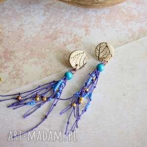 kolczyki boho z odciskiem liścia, kolczyki, boho, biżuteria