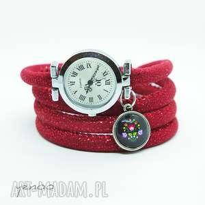 Prezent Zegarek, bransoletka - Folkowy owijany, czerwony, zegarek,