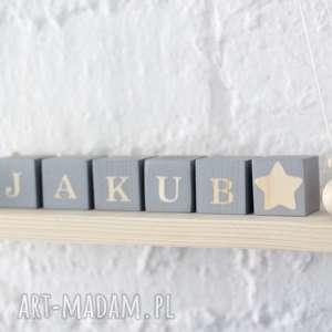 klocki 5x5cm, drewniane, drewniane imię, imię z klocków, personalizowane
