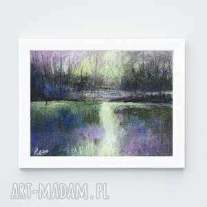 pejzaż-praca wykonana pastelami suchymi formatu a5, pastele, drzewa, pejzaż
