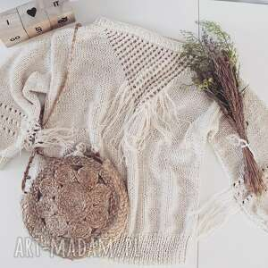 into the sun sweater, boho style, frędzle, sweter na drutach swetry
