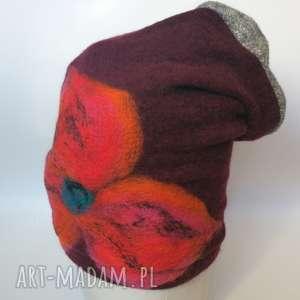 czapka wełniana damska bordo i szary - czapka, wełna, zima, etno, kwiaty, narty