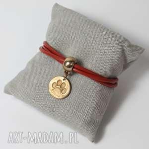 bransoletki bransoletka z łapką w pomarańczy, rudy, łapka, pies, kot biżuteria