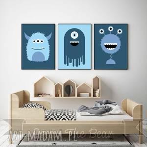zestaw plakatów dla dzieci potwory a4, potwory, plakaty, obrazki, dekoracja