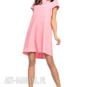 handmade sukienki sukienka z kontrafałdą na plecach, t261, różowa