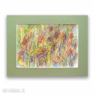 ogród rysunek, grafika w ciepłych kolorach, słoneczniki szkic, łąka obrazek