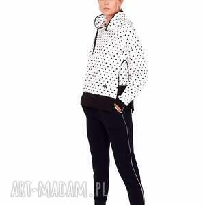 dres damski ola kolor czarno/biały, dres, marynarka, bluza, sukienka, spodnie