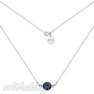 ręcznie zrobione naszyjniki srebrny naszyjnik z granatowym kryształem swarovski® crystal