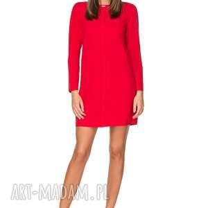 elegancka sukienka z zakładką, t209, czerwona, sukienka, elegancka, zakładka