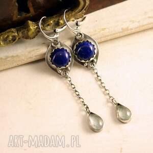 lapis lazuli i krople rosy, srebrne kolczyki, długie wiszące kolczyki