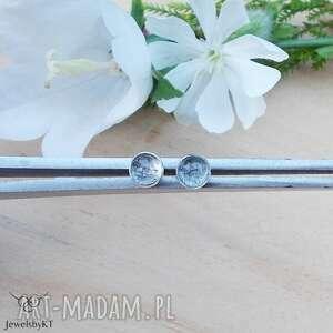 Mini kropki z kwarcem turmalinowym - kolczyki jewelsbykt srebrne