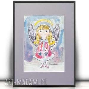 Aniołke obrazek, akwarela aniołek, obrazek z aniołkiem, mały aniołek rysunek