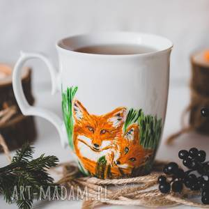 kubki kubek przytulone lisy ręcznie malowany, lis, motywlisa, porcelana