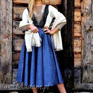 Spódnica TARA Total Midi Denim , koło, midi, denim, jeans, kieszenie, długa
