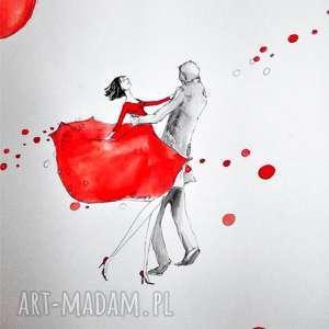 tańcząca para praca akwarelą i piórkiem artystki plastyka adriany laube