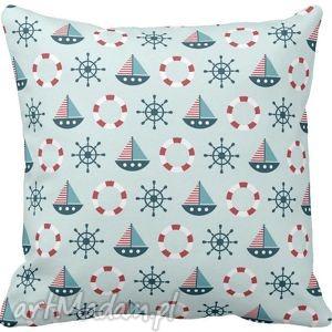 Poszewka na poduszkę dziecięca żaglówki styl marynarski 3007, poszewka, poduszka