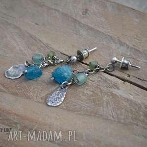 Kolczyki ze szkłem antycznym i apatytem, srebro, apatyt, szkło, antyczne, wiszące