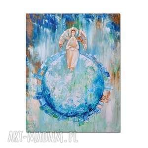 Anioł Bibliofil, obraz ręcznie malowany, anioł, obraz, ręcznie, malowany