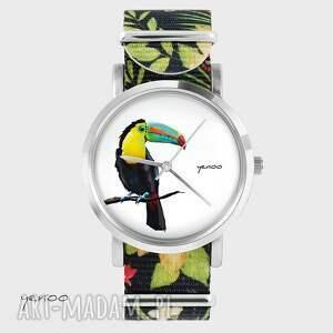 ręcznie wykonane zegarki zegarek, bransoletka - tukan - kwiaty, nato