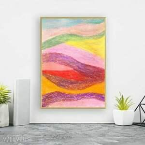 kolorowa abstrakcja w ramce, oprawiony rysunek abstrakcyjny, pastelowy
