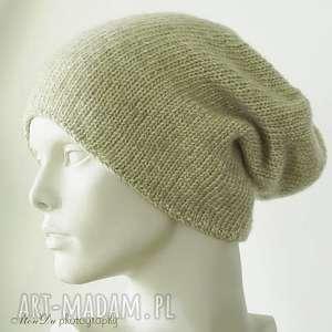 Jesienna beżowa, czapka, dziergana, wełniana, męska, merino, bawełniana