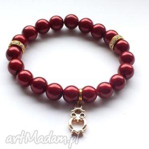 bransoleta maroon pearls owl, sowa, zawieszka, charms