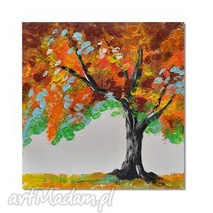 kolorowe drzewo, nowoczesny obraz ręcznie malowany, abstrakcja,