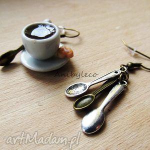 ręczne wykonanie kolczyki kolczyki - kawa z łyżeczką