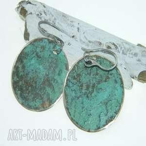 zielone patynowane kolczyki-k51, kolczyki, metaloplastyka, unikatowa biżuteria