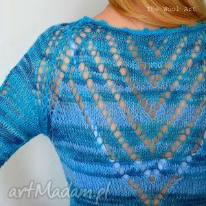 pod choinkę prezenty, ażurowa bluzka , bluzka, sweter, niebieski, welna, ażur swetry