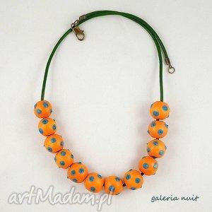 Alexandra - korale ręcznie malowane, kropki, lekkie, wesołe, folkowe