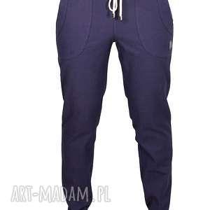 granatowe bawełniane spodnie z wiązaniem, jeansy, proste, zwykłe, gładkie,