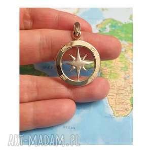 złota zawieszka róża wiatrów, kompas 585, kompas, wiatrów, podróżnik
