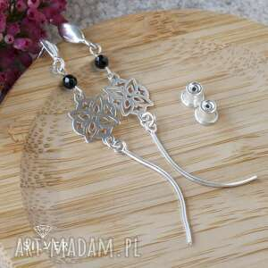 kolczyki srebrne rozety ze spinelem, spinel, rozeta, ażurowa, wiszące