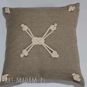 poduszki lniana makramowa poduszka z ozdobnym motywem nieskończoności