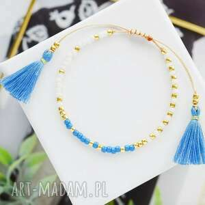 bransoletka na sznurku z chwostami biało-niebieska minimal white and blue