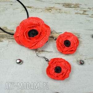 Prezent Komplet biżuterii czerwone maki , biżuteria-kwiaty, biżuteria-maki