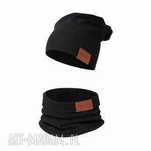 kominy komplet czapka i komin czarny, komin, bawełniana