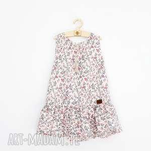 sukienka ecru w pudrowe kwiatuszki, zwiewna, sukienkawkwiaty, kwiatuszki