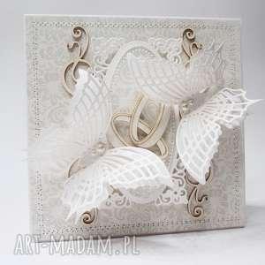 scrapbooking kartki dwie obrączki - kartka w pudełku, ślub, rocznica, gratulacje