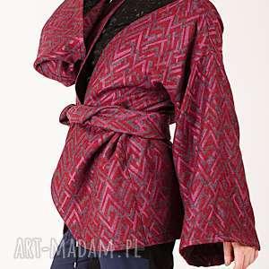 wełniana narzutka w pleciony wzór, fioletowy, wełniana, narzuta, bluza, wzorek
