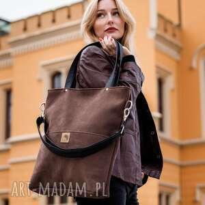 brązowa torba z zamszu ekologicznego, duża, codzienna, stylowa, do szkoły