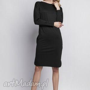 Sukienka, SUK107 czarny, sukienka, skóra, pikowania, czarna, kieszenie, midi