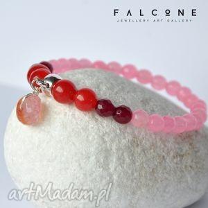bransoletki pink red, bransoletka, subtelna, pastelowa, agat, kamienie