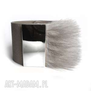 Bransoleta skórzana futro szara srebro, blaszka,