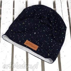 czapka unisex kropki - czapka, jesień, zima, komin, granatowa, kropki