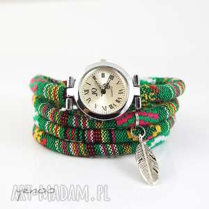 handmade zegarki zegarek, bransoletka - zielony, boho - piórko