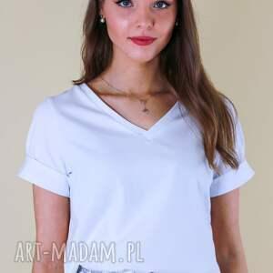 handmade bluzki t-shirt biały, koszulka damska bawełniana z dekoltem w serek