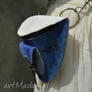 nerka zamsz lico biało-niebieska, nerka, zamszowa, skórzana, torebka na pas